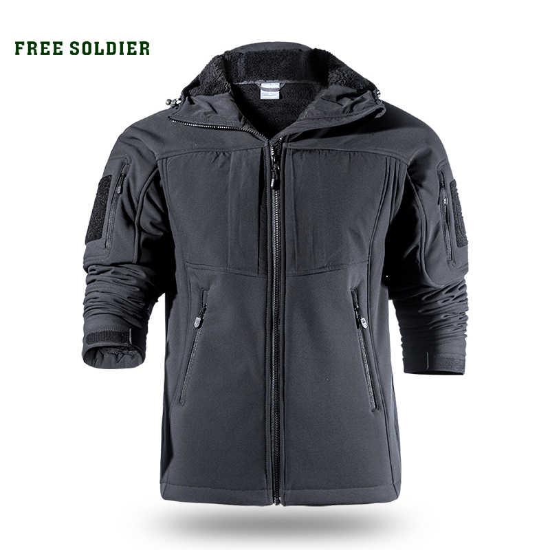 を無料の兵士屋外スポーツチミリタリーキャンプハイキング戦術ソフトシェルジャケットの男性の温水耐服大サイズ