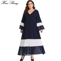 Women Summer Long Sleeve Dress V Neck Flare Sleeve Elegant Patchwork Pleated Long Boho Dress Loose Plus Size Tunic Beach Dresses