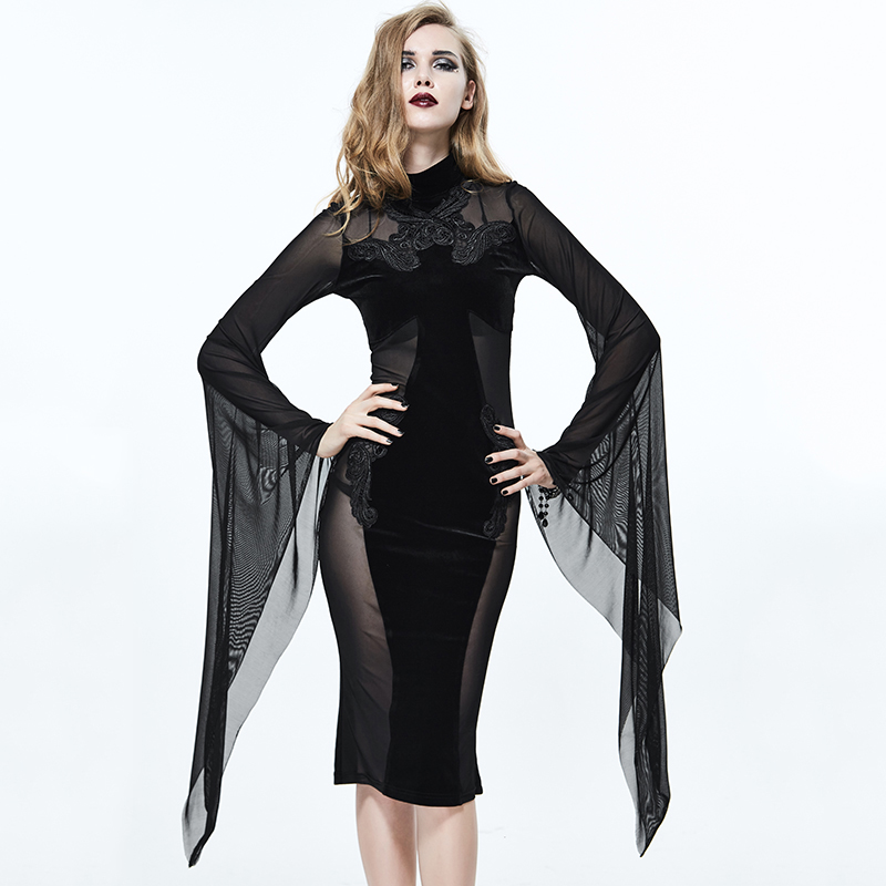 Gothique col rond Sexy dames Perspective robe Punk noir élastique Slim Fit robes Court Style Flare manches femmes robe
