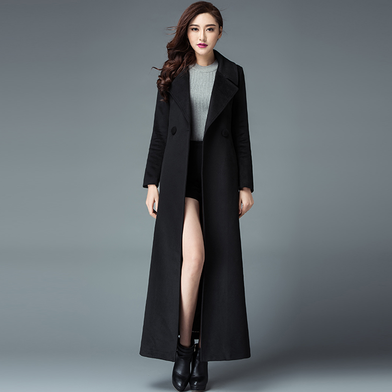 228eaa2a1dd 2017 Winter New Fashion Plus Size Women S Slim Long Jacket Solid Color Wool  Trench Coat Cashmere Overcoats