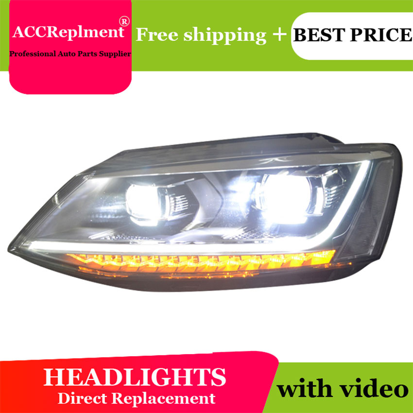 AUTO PRO headlights for Volkswagen jatta 2011 2014 car styling bi xenon lens LED light guide