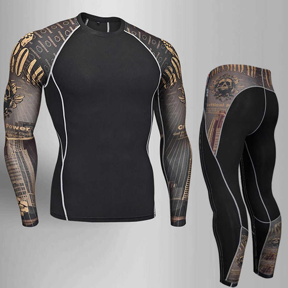 Человек сжатия спортивный костюм быстрое высыхание пот фитнес чехол для тренировочной боксерской груши комплект Рашгард Мужская спортивная одежда бег Одежда