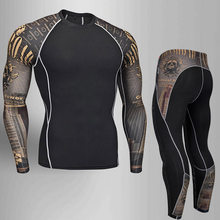 Survêtement homme vêtements Compression sport costume Fitness MMA Kit rashguard mâle gymnastique leggings vêtements de sport course collants longs 4xl(China)