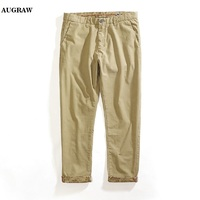 Augraw 2018 New Arrival Latest Fashion Casual Khaki Knit Pants Outfits Mens American Most Popular Street