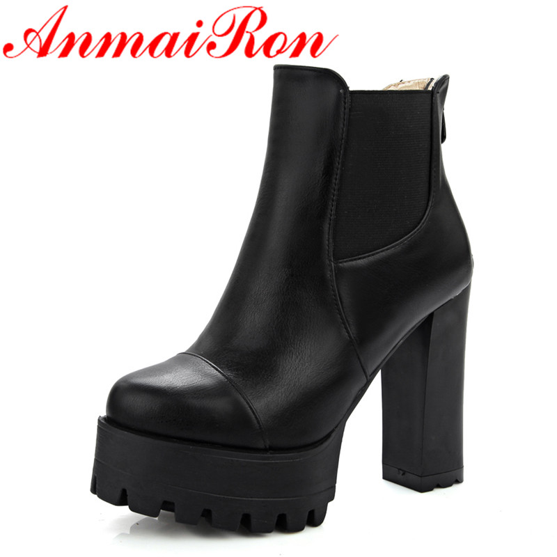 ANMAIRON New Fashion Style Winter Ankle Boots for Women Zippers Round Toe Solid Square High Heels Women Shoes Clasic Black Shoes black round toe side zippers heavy bottomed increased inner 12 cm slope heels naked boots discount women fashion wedges booties