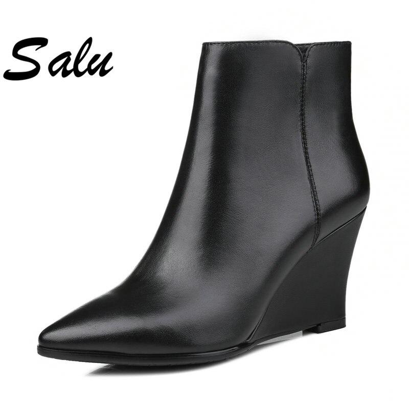 Negro Botas Felpa Zapatos Hecho rojo Tobillo Corta Cuero Calidad De Negro Salu Ruso verde Nuevas Mano A Mujeres Alta Genuino qtZST