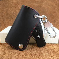 Genuine Leather Car Key Case Key Holder Bag Cover Wallets For Mercedes Benz Accessories W203 W210