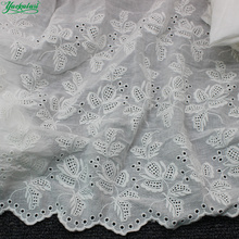 YACKALASI 100% Cotton Lace Eyelet Embroidered Fabrics Swiss Cotton Voile Appliqued 3D Flower Trims Diy NatureWhite 46cm