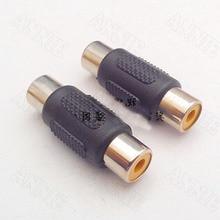 50pcs/lot Audio AV Butt Joint Socket RCA Double Pass Female To Female Jack Factory Direct