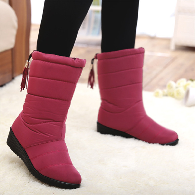 b29e2e0d3963 LAKESHI Mid Calf Women Boots Warm Fur Snow Boots Elastic Band Winter Boots  Female Waterproof Women Shoes Down Cloth Ladies Shoes-in Mid-Calf Boots  from ...