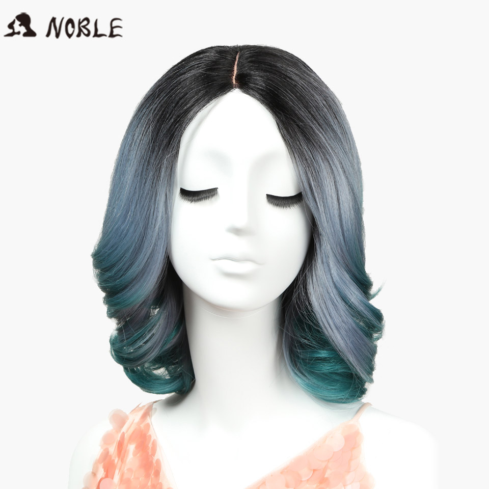 Noble Synthetic Hair Wigs For Black Women 12Inch Wavy Short I Part Lace Wigs african american Synthetic Wig 3Color Free Shipping
