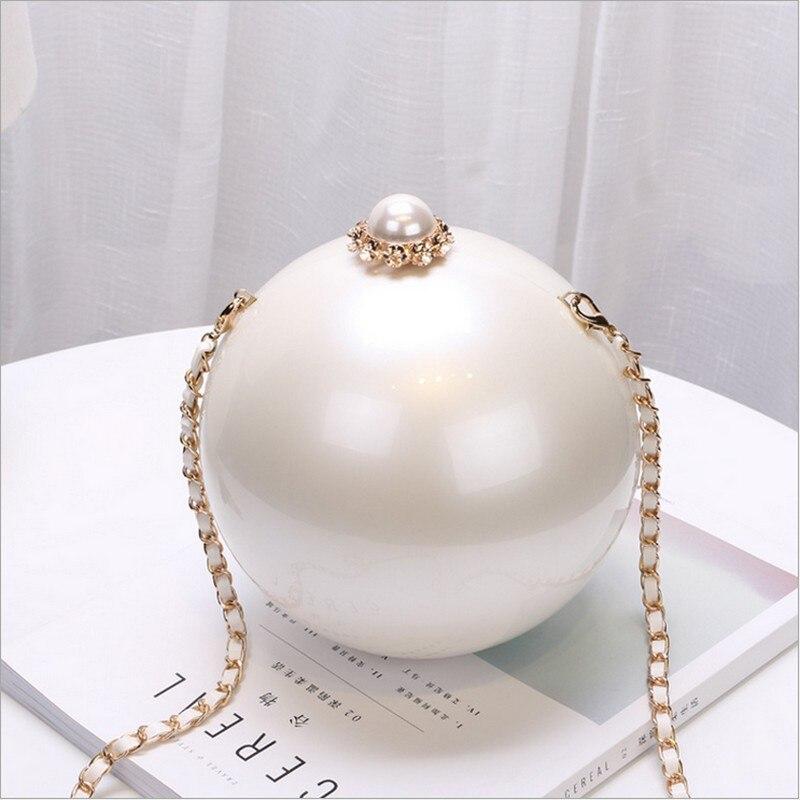 Nuevos Circulares Bola Blanca de Las Mujeres de Acrílico Del Bolso de Embrague B