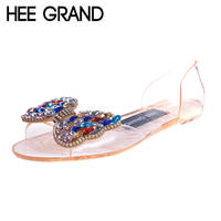 HEE GRAND Soft Transparent Jelly Women Sandals Flat With Crystal Colorful Rhinestones Butterfly Knot Beach Shoes