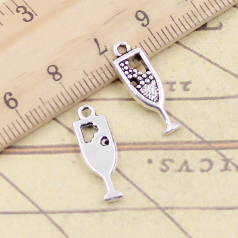 WYSIWYG 50 Pieces Charms Charm Bracelet 3D Wineglass 15x6x6mm for Jewelry Making supplies Metal crafts accessories