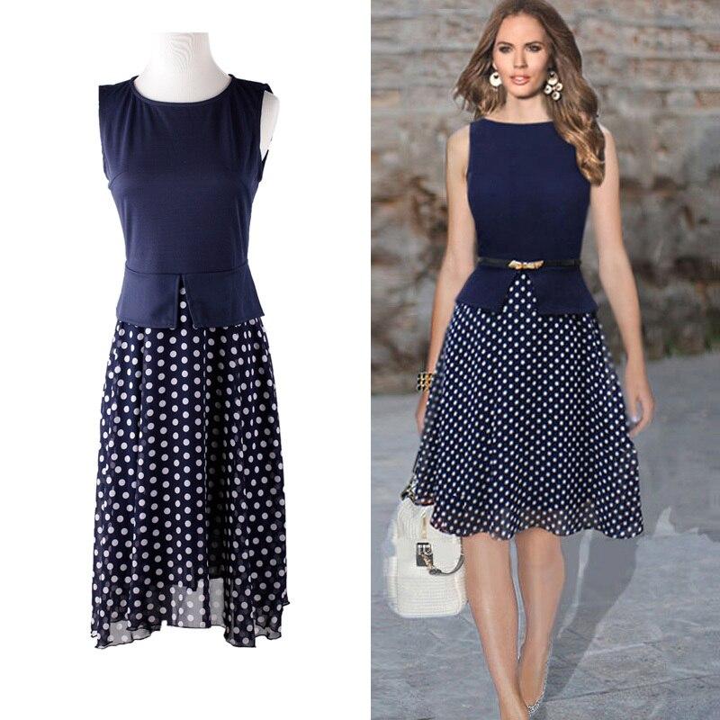 e8aa8795b Vestido de verano 2016 azul marino de lunares Vestidos mujeres del vestido  ocasional de impresión de gasa Vestidos para mujer elegantes damas llevan  en ...