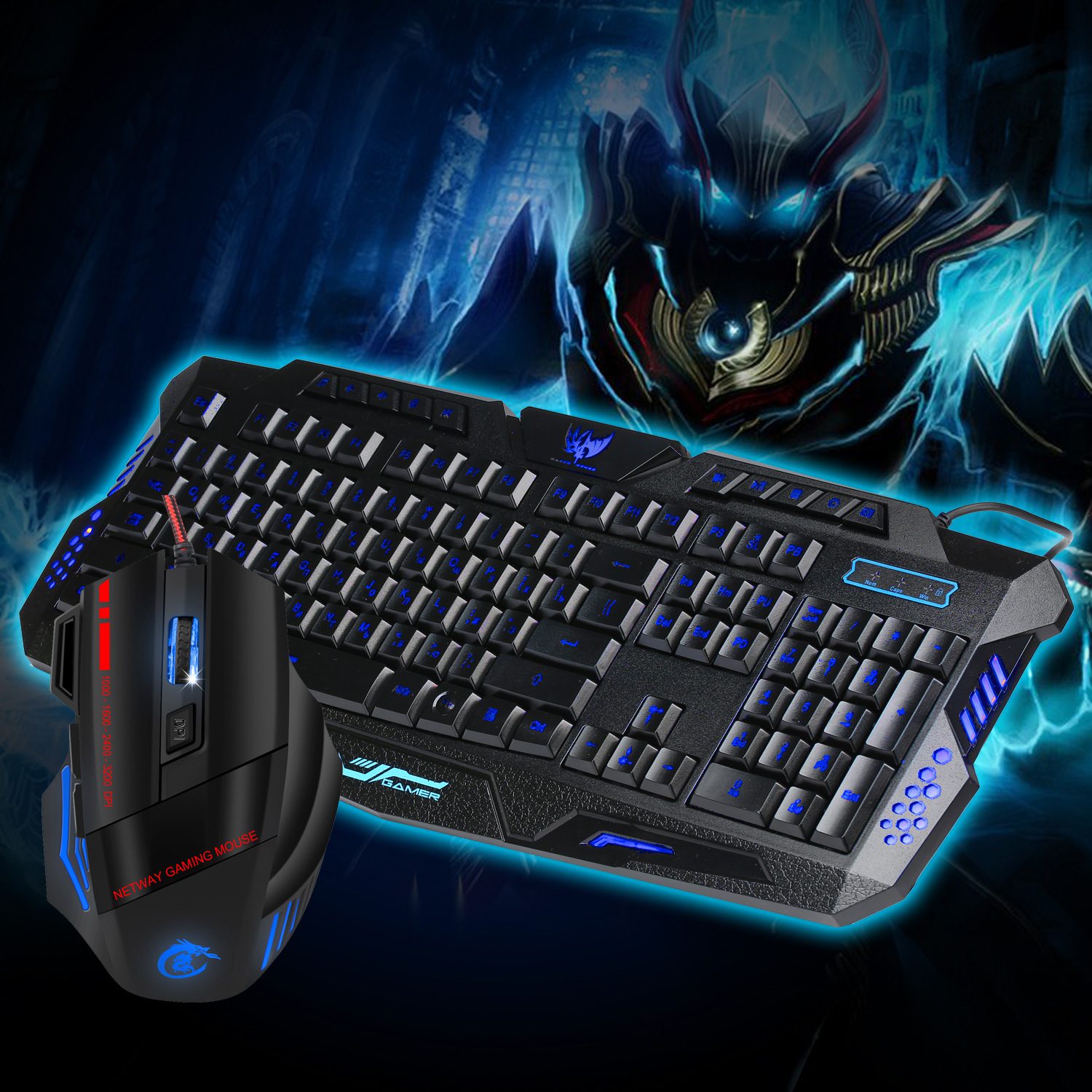 New 3200 DPI 6 Button Colorful Glowing Gaming Mouse and Three-color Backlight 19-button  ...