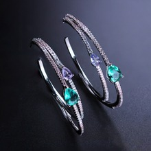 Fashion Big Circle Hoop Earring Water Drop Clear Stone with CZ Large Round Earring for Women Party Jewelry EGY001582