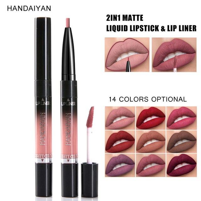 HANDAIYAN 2 en 1 doble-brillo de labios 14 Color mate lápiz labial líquido delineador de labios de cosméticos de maquillaje de labios a prueba de tinte de labios tatuaje