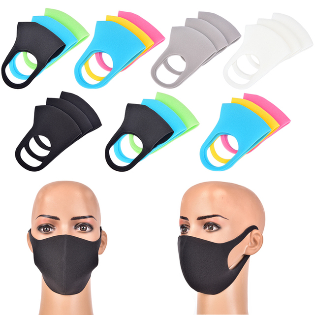 3pcs Mouth Mask Black Cotton Blend Anti Dust And Nose Breathable Face Mouth Mask Fashion Reusable Masks For Man Woman