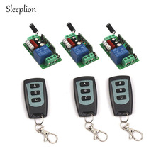 Sleeplion Family-Sized AC 220V 1CH Channel Wireless RF Waterproof Remote Control 3 3-key Switch Transmitter+3 Receiver Module