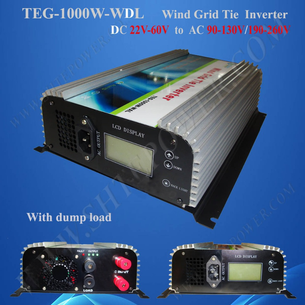 DC 22V-60V to AC 190V-260V Wind On Grid Tie Inverter 1000W, Pure Sine Inverter with LCD and Dump Load Resistor new 600w on grid tie inverter 3phase ac 22 60v to ac190 240volt for wind turbine generator