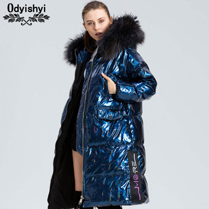 Laser Glossy Long Down Coats Women Thicken Jacket Hooded Parka Raccoon Fur Collar Female Loose Down