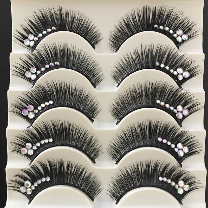 YOKPN Shimmery AB Crystal False Eyelashes Stage Performance Latin Fake Eyelashes Exaggerated Stage Makeup Thick Long Eye Lashes