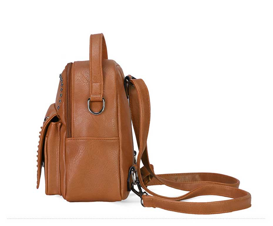 8df168985e58 Vintage Pu Leather Backpack Hollow Out Small Teenage Girl School Bag ...