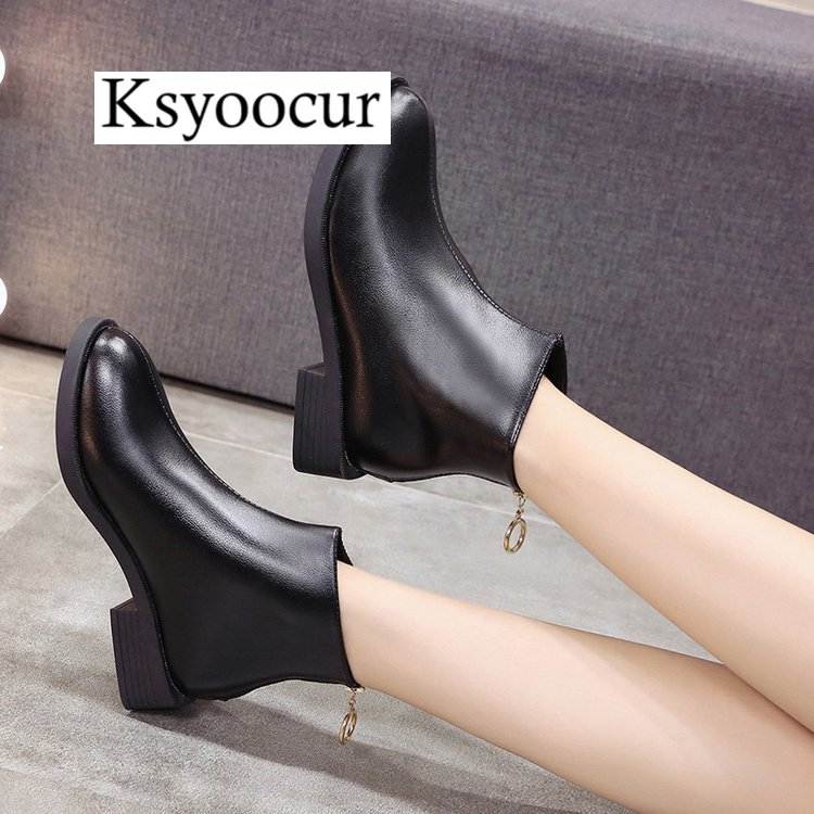 78adf355abd6 Ksyoocur Back Zipper Black Ankle Boots for Women Warm Insole Women Boots  Low Heel Autumn winter Women Shoes J002