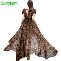 Brand 2016 Summer Sexy V Neck Maxi Long Leopard Chiffon Dress Women Casual Plus Size Solid