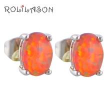 Mini style Supper supplier Popular Orange Fire Opal stamped Silver Stud Earrings for women Fashion Jewelry OE320