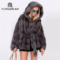 FURSARCAR Luxury New Real Mink Fur Coats Women Bat sleeved Style Winter Female Genuine Leather Mink Fur Jacket With Fur Hood