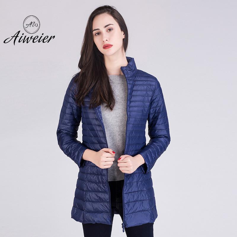 [Aiweier] Womens Down Jackets Brands New Winter New Zipper Stand Collar Long Goose Down Coat Slim Thin Parkas For Female AL2102