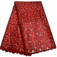 (5 ярдов/шт) Высокое качество handcut Африканский двойное кружево из органзы ткань красный с чудесными блестками вышивка для праздничное платье