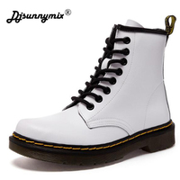 DJSUNNYMIX New England Style Ankle Boots For Women Autumn Winter Genuine Leather Women S Leather Boots