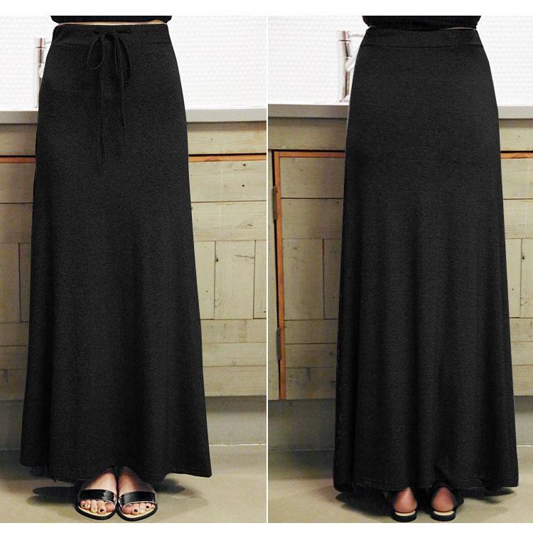 Long Straight Black Skirt - Dress Ala