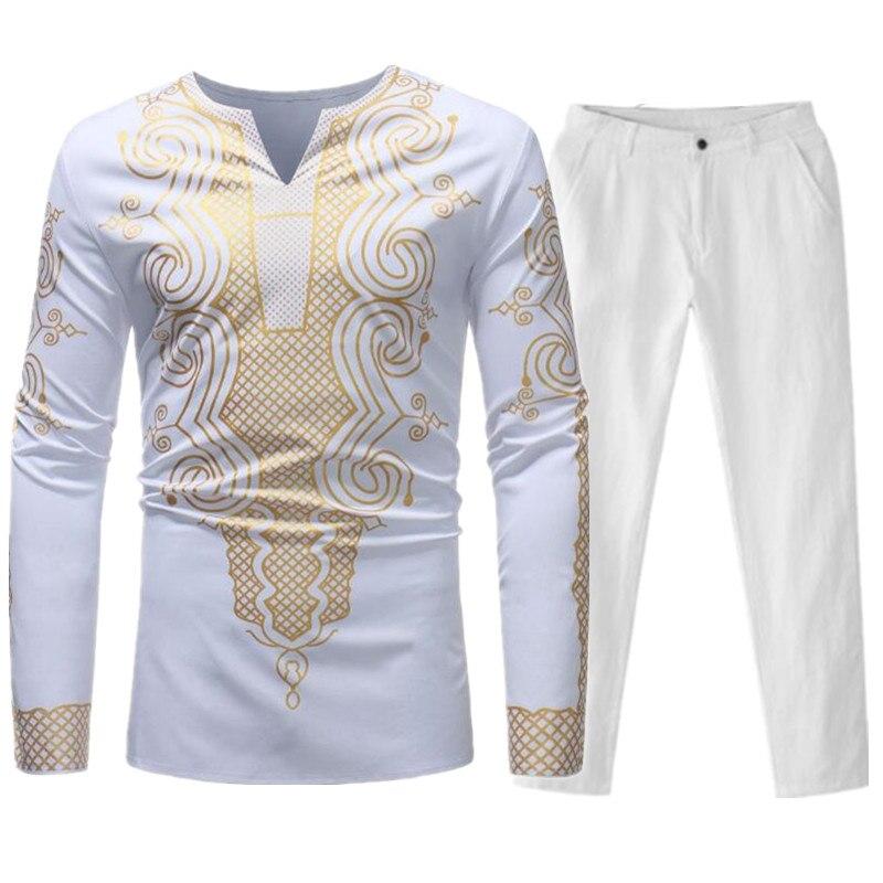 Hommes ensembles africain Dashiki vêtements coton printemps survêtement de sport mâle col en V t-shirt pantalon africain hommes Bazin Riche Costume Costume - 2