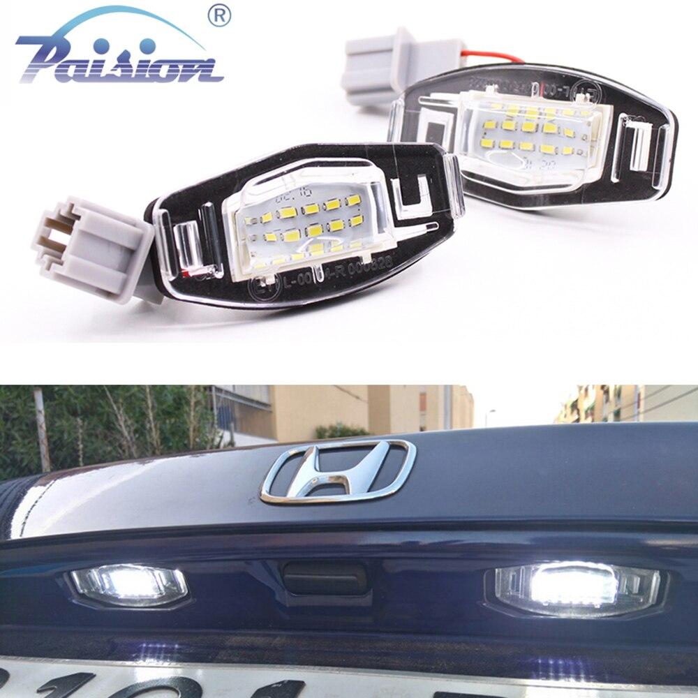 2 шт., белые светодиодные лампы для номерного знака Acura RL TSX RDX Honda Civic Accord