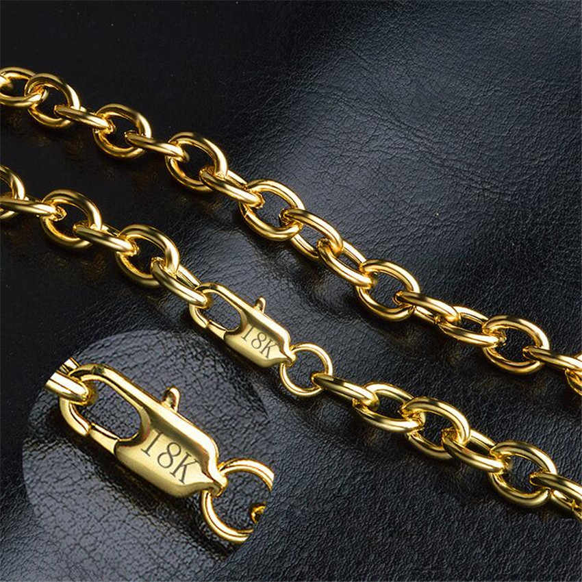 Europe and the United States 18 K 8mm men's gold necklace European and American hot O-shaped thick chain length