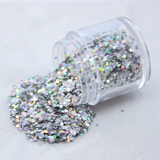 1kg 3mm Round Glitter Powder for Nail Polish or Gel 1mm and 2mm selectable Glitter in Bulk Dot Glitter Silver/Gold Color