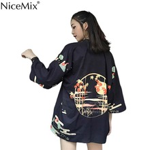NiceMix Harajuku Style Bf Loose Cardigan Printing Casuap Sun Protection Blouse Women Kimons 2019 Summer Fashion Outwear Kimono