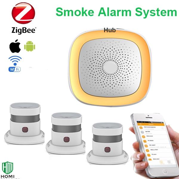 Zigbee Smoke Sensor Wifi Fire Alarm System Wireless Stable Signal Sentive Zigbee EN14604 Wifi Smoke Detector 3pcs