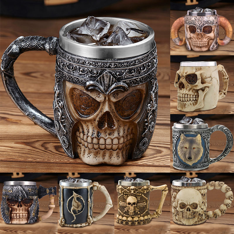 2019 New Style 3D skull shape Cup Game of thrones Coffee Beer Cup Mug 13oz Best Gift For Boyfriend-in Mugs from Home & Garden