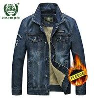 AFS JEEP Men S Classic Cowboy Winter Thicken Jacket Warm Wool Coat Man Casual Brand Denim