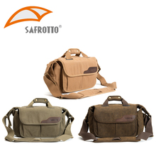 Safrotto Professional Photographic Accessory Canvas Digital Video Outdoor Messenger Bags Rain Cover Large Camera Shoulder Bag