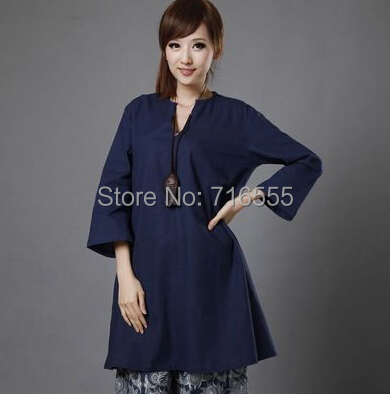 free shipping autumn spring summer national trend long casual women shirt cotton linen black blue plus size tops loose gy0401 Рубашка