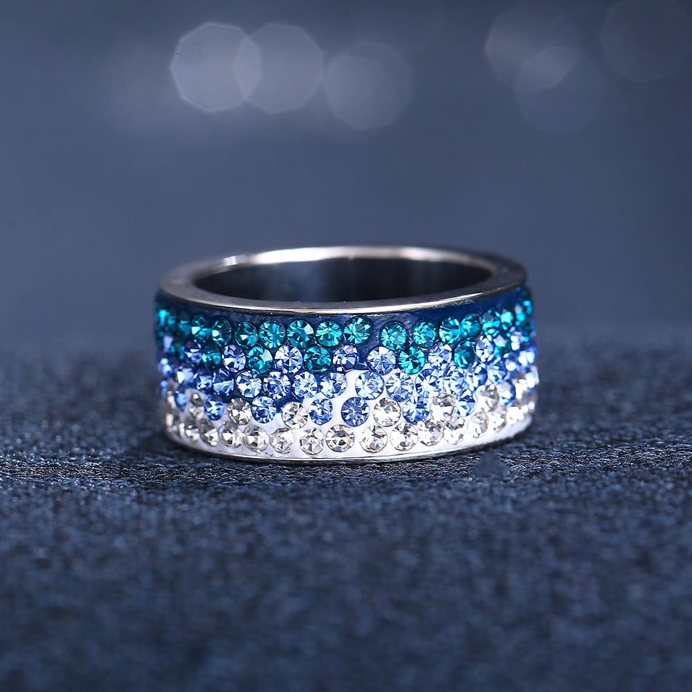 Цвета — красный, синий, черный цветное кристаллическое кольцо для Для женщин человек Винтаж 5 строк Кольца из нержавейки вечерние женские цветок палец ювелирные изделия 2018