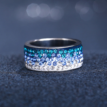 Red Blue & Black Color Stainless Steel Crystal Rings