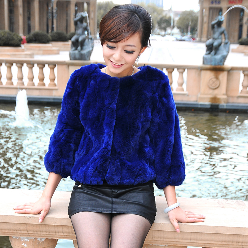 Hot selling 2014 rex rabbit hair fur coat short design o neck slim