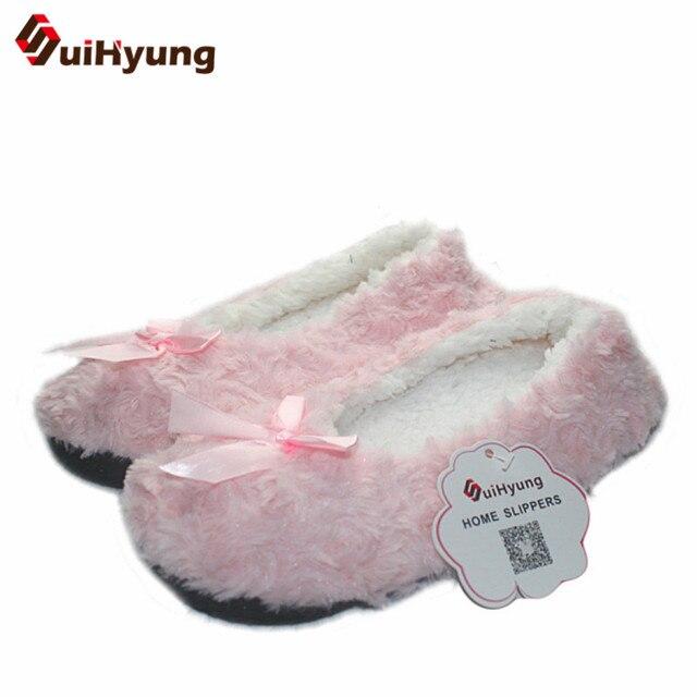 2aeb09a0bceeb8 R$ 21.09 20% de desconto Suihyung Inverno Quente Mulheres Em Casa Chinelos  Sapatos Piso Sapatos de Pelúcia Feminino Bowknot Velo de Algodão Indoor ...